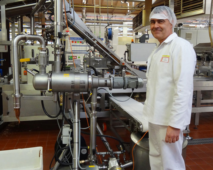 Filtering caramel at Mondelez International