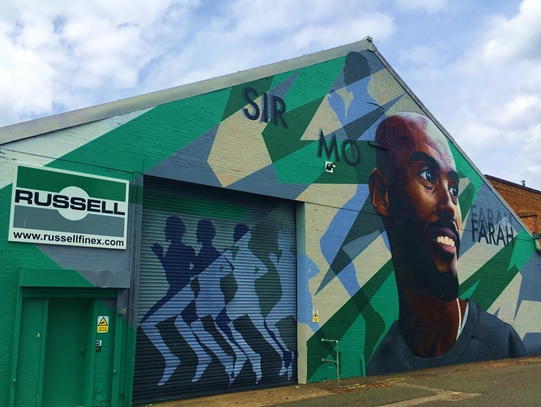 Sir Mo Farah Mural on Russell Finex's factory by Richard Wilson