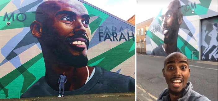 Sir Mo Farah Mural in Feltham Richard Wilson