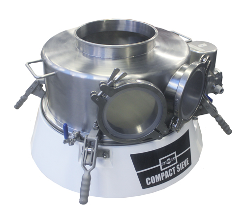 Pharma sieve customized with contained detachable parts for safe handling