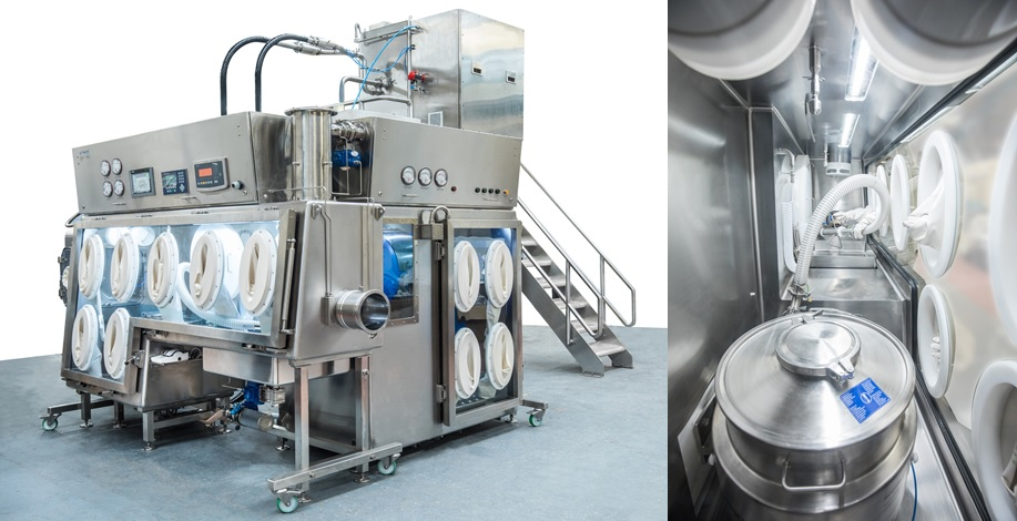 Aseptic pneumatic sifter for pharmaceutical containment isolator