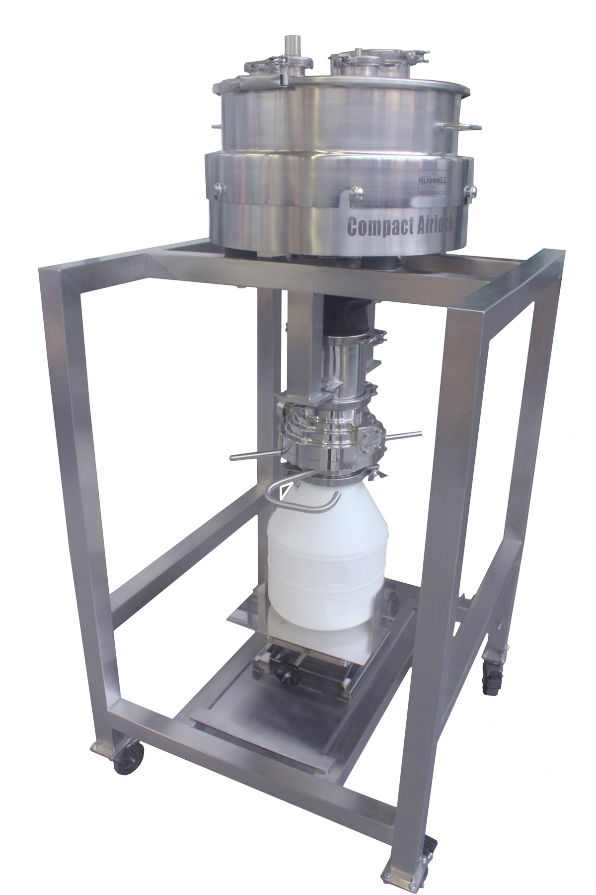 Aseptic sieve guarantees containment during screening and powder transfer